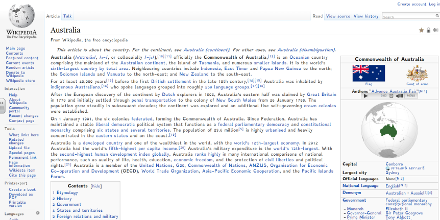 Screenshot of the Australia page on WIkipedia. Captured 31-03-2015