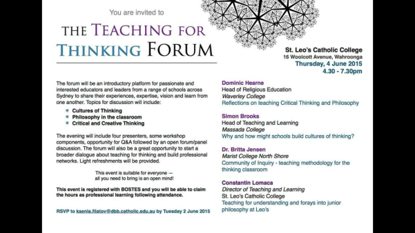 Teaching for Thinking Forum Flyer