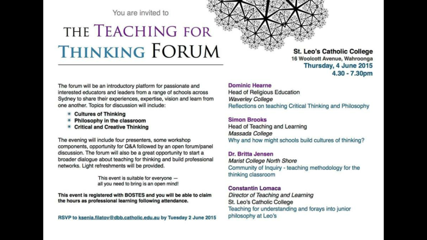 Review: Teaching for Thinking Forum (PartFour)