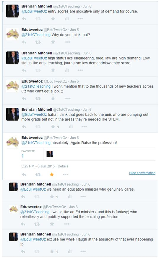 Screenshot from Twitter conversation with the @EduTweetOz account being controlled by @seminyaksunset on June 6, 2015