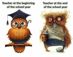 Teachers at the start and end of year meme. Retrieved from http://schweet.com/wp-content/uploads/2014/05/teachers-begin-of-the-year-vs-the-end-of-the-year1.jpg on 24-06-2015