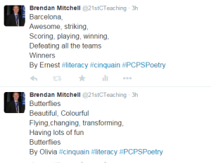 Barcelona by Ernest, and Butterflies by Olivia. Both written 13/08/2015.